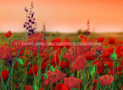 Field Of Poppies bead embroidery kit Housewarming gift idea, DIY beaded kit