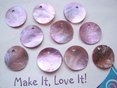 10 x 18mm ROUND DISC SHELL Charm Beads Mother of Pearl Nautical Crafts PINK RED