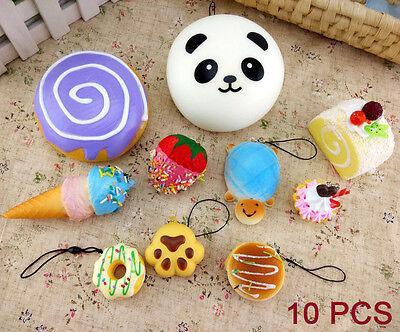 10 pcs/lot Random Cute Soft Squishy Cell phone Panda/Donut/Cake Charms Straps