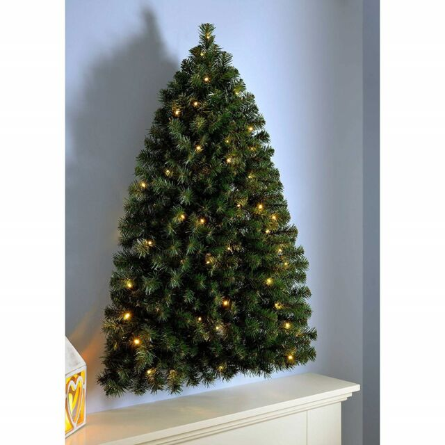 Half Christmas Tree.Luxury Pre Lit Christmas Tree Half Wall Hanging Led Lights Home Decoration 3ft