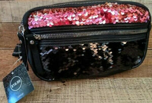 Junior-Core-Fanny-Pack-Sequined-Pink-Black-Faux-Leather-Zipper-Bag-8-5-034