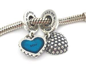 fa40c4d62 Authentic Pandora Piece Of My Heart Son Silver heart Bead Charm ...
