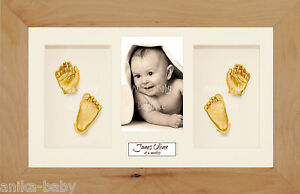 New Large Baby Casting Kit Gift Gold Hand/Feet Casts Real Beech 3D Display Frame