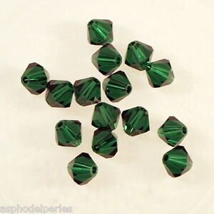 10 Perles Toupies En Cristal De Swarovski 5301 Medium Emerald 5 Mm