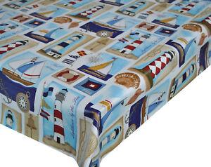 PVC-TABLE-CLOTH-LIGHTHOUSE-NAUTICAL-PATCHWORK-COMPASS-SHIP-SAILOR-BLUE-WIPE-ABLE