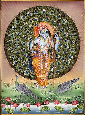 Krishna Painting Handpainted Folk Art Image of Lord Krishn with Peacock Feathers