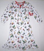 Peanuts Christmas Flannel Granny Nightgown Pajamas White Cute Nice Girl
