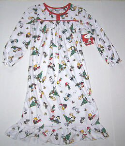image is loading nwt new peanuts christmas flannel granny nightgown pajamas