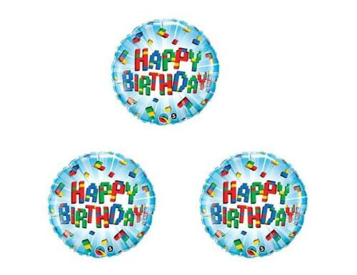 SET OF THREE Colored Building Blocks Birthday Party Balloons Decoration Supplies