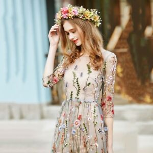 Details About Women Boho Cotton Dress Embroidered Lace Floral Long Sheer Mesh Party Dress Us