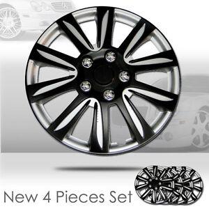 New-16-inch-Hubcaps-Black-Rim-Wheel-Covers-Hub-Cap-Full-Lug-Skin-Set-546