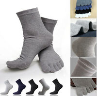 5 Pairs Cotton Blend Soft Men's Five Fingers Toe Socks Absorbent Stockings