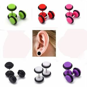 Plug-Earring-Acrylic-Stainless-Steel-Flesh-Plug-Stretcher-Ear-Stud-Punk-Style