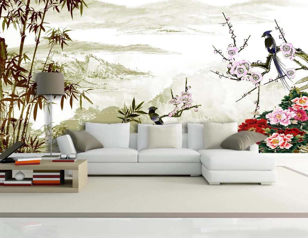 3D Flowers Bamboos Birds 459 Paper Wall Print Wall Decal Wall Deco Indoor Murals
