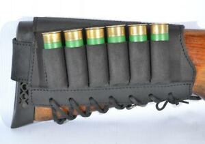 Rifle-Shotgun-Buttstock-Holder-6-Shell-Cartridge-12-16-GA-Ammo-Retro-Leather-New