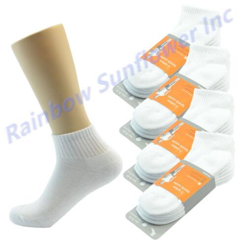 White 6 Pairs Ankle//Quarter Crew Mens Socks Cotton Low Cut Size 9-11 new Sport