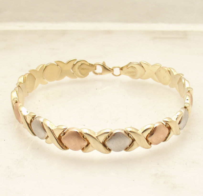 7.25  Hugs & Kisses Stampato Bracelet Real 14K Tricolor Yellow White pink gold