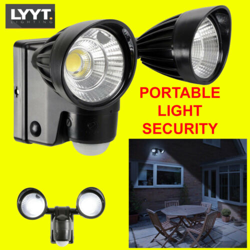 Battery Powered Outdoor Dual 3W LED Bright PIR Security Flood Light Wall Mount