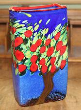 Signed MAD ART Apple Tree Art Glass Vase