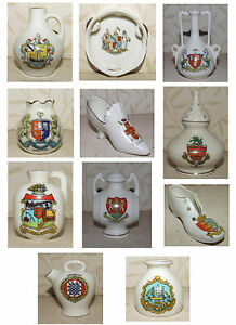 Crested-ware-Various-Jugs-Vases-Shoe-Tamborine-Pomander-Barrel