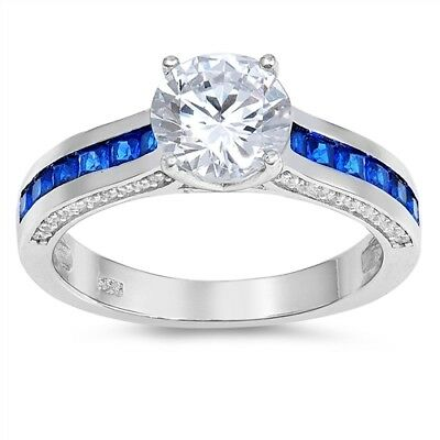 Brilliant Round Princes Blue Sapphire Simulated Diamond Sterling Silver Ring