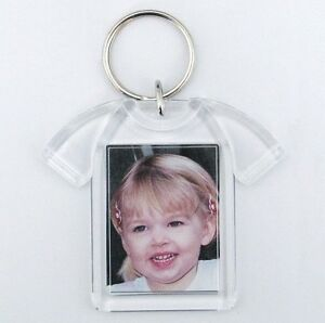 100x Blank T-Shirt Shape Acrylic Keyrings 41x30mm Photo key ring plastic D1217