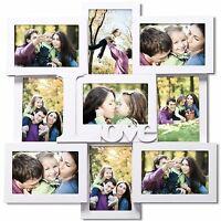 Adeco Decorative White Wood love Wall Hanging Collage Picture Photo Frame, 4 ,