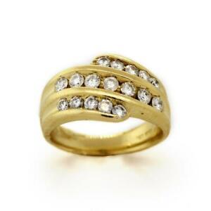 Estate-14K-Yellow-Gold-Diamond-Cocktail-Ring-Multi-Row-1-25-TW-Round-Diamonds