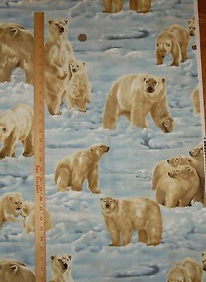 Arctic Adventure Polar Bear Exclusively Quilters Cotton Fabric Quilt  OOP BTY