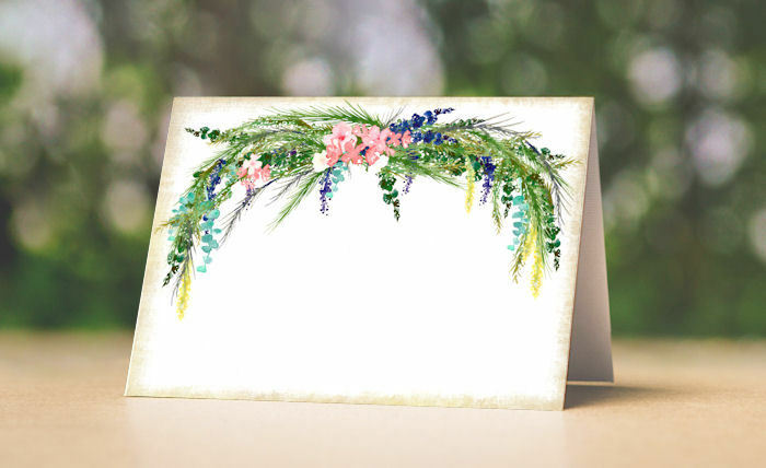 WATERFarbe FLORAL TENT STYLE WEDDING PLACE CARDS or TABLE CARDS  16