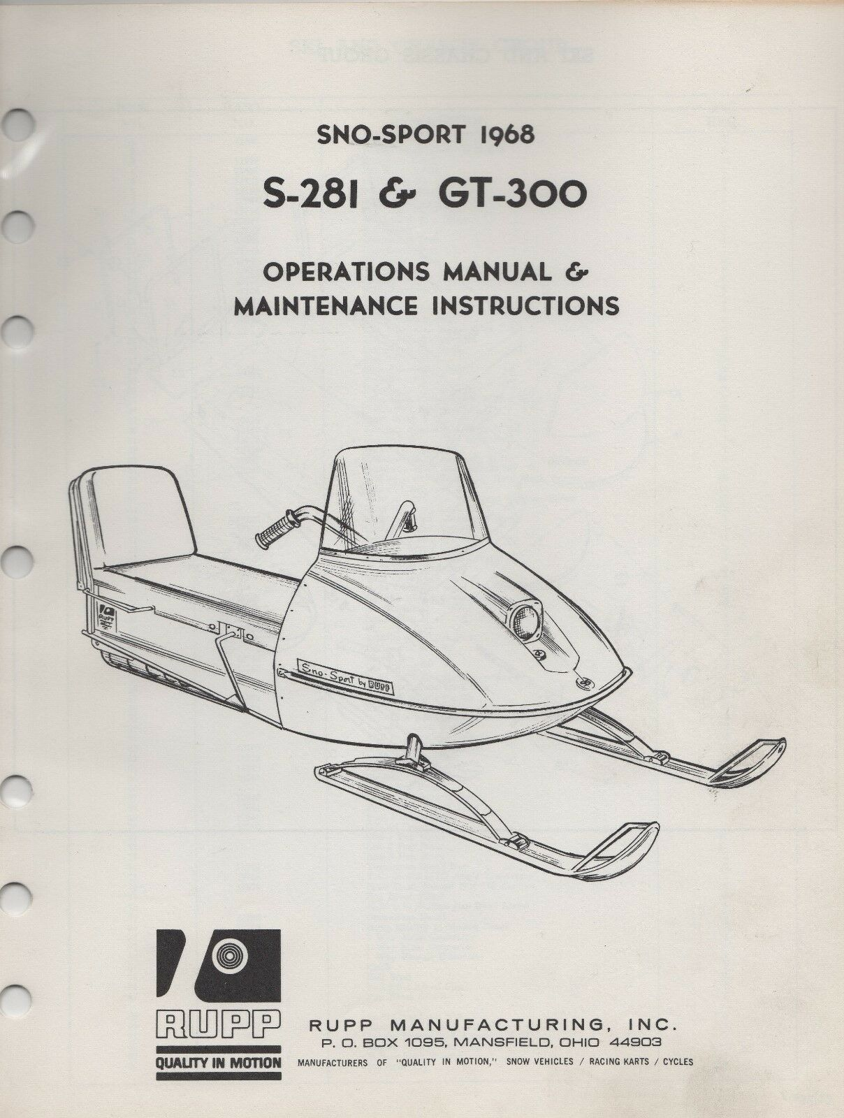 1968 RUPP SNOWMOBILE SNO-SPORT OPERATIONS ,MAINTENANCE MANUAL (645)