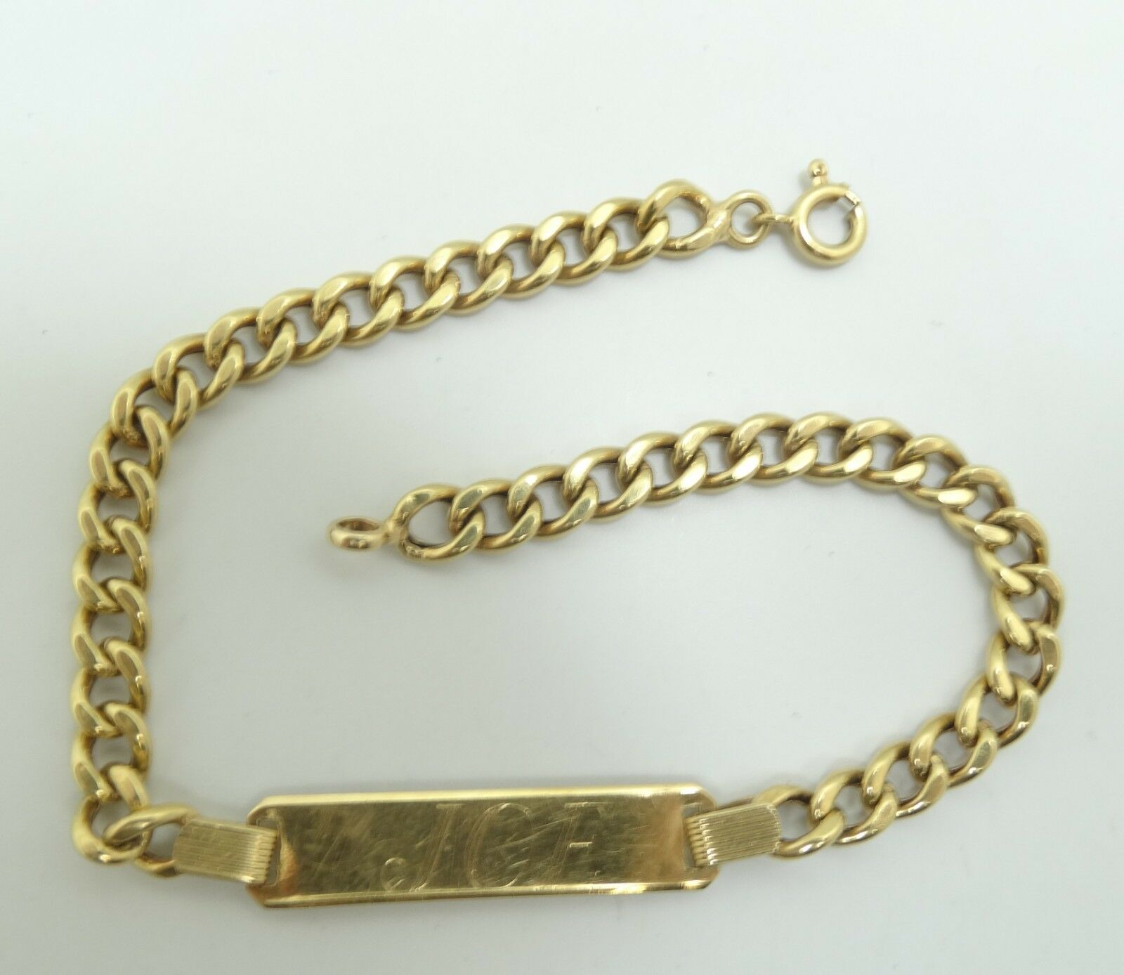 Nice 18K Yellow goldCurb Link Chain Engraved  Joe  ID Bracelet 8 Inch 7.4g D5582