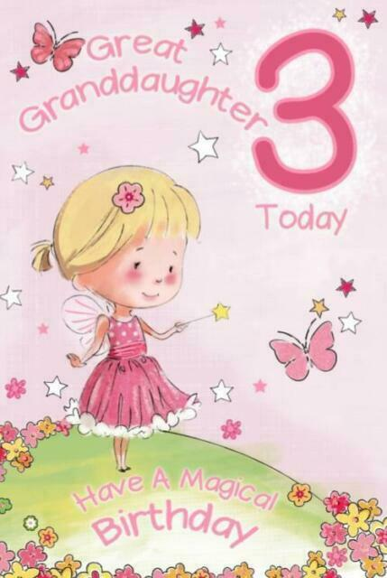 Great Granddaughter 3 3rd Birthday Card Verse Luxury Card Made In Uk Gr For Sale Online Ebay