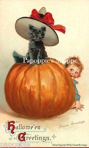 Fabric-Block-Halloween-Vintage-Postcard-Image-Cat-in-Pumpkin-Small-Boy