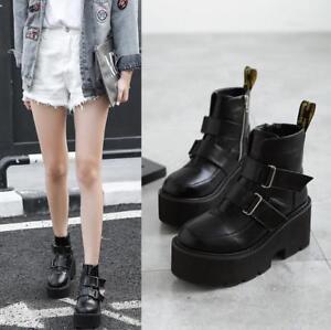 Femme-Haute-Plate-forme-Talon-Compense-Bottines-a-Talon-Massif-Bride-a-Boucle-Motard-Chaussures-Bon