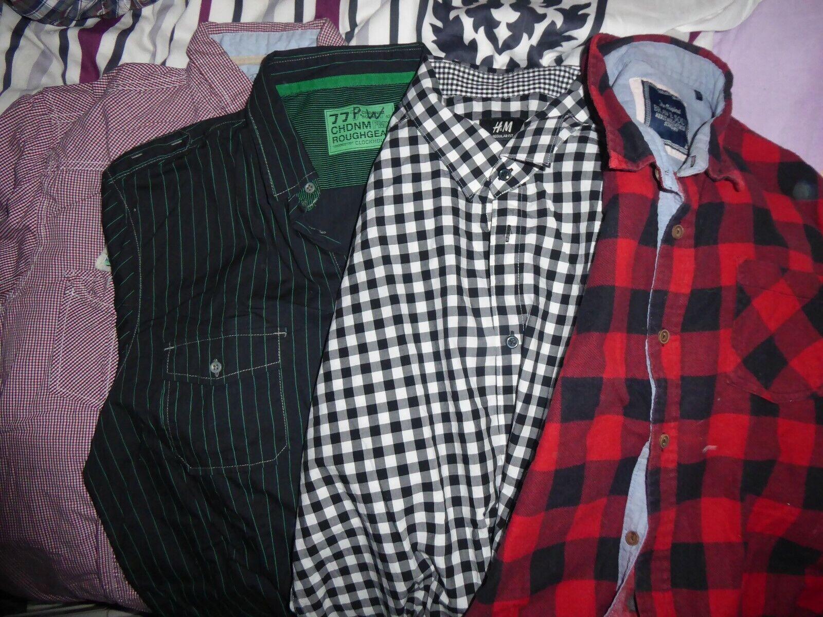 4 x Paket Herren Hemd Gr. L rot schwarz weiß Kurzarm Langarm Baumwolle Brust 58