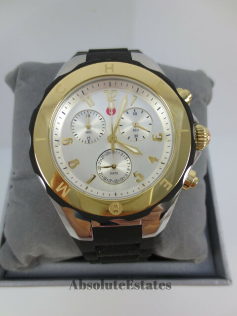 1965849e6 Auth MICHELE Tahitian Jelly Bean Silver Black Two Tone Watch MWW12F000057