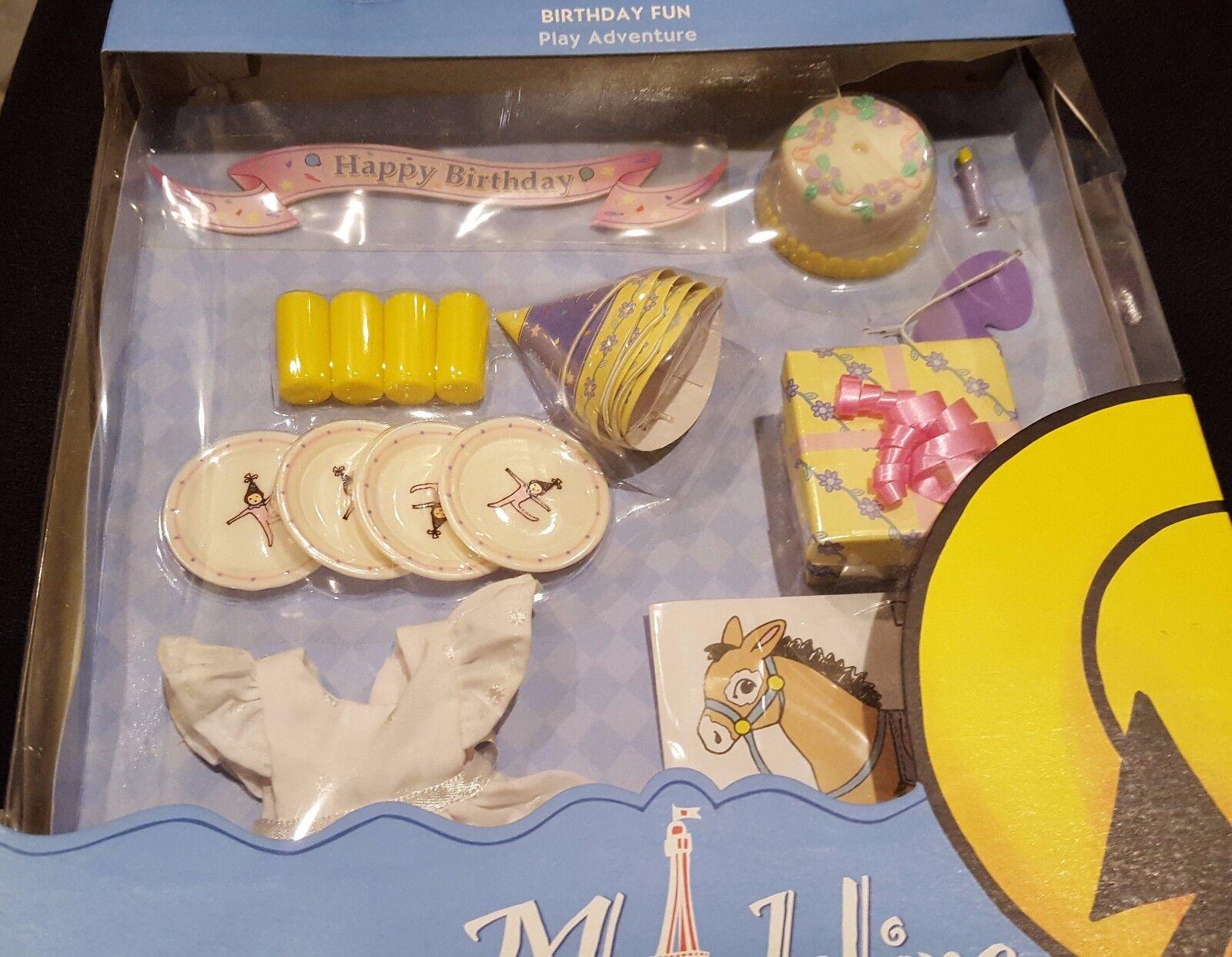 Nuevo Sombrero de Cumpleaños Diverdeido Madeline Muñeca 8 Placas Tazas Vestido Pastel presente juego B-día