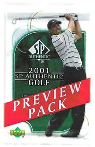 Details About 2001 Upper Deck Golf Sp Authentic Preview Packs Tiger Woods Rookie Card Gold Red