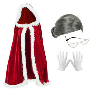 La-Sra-Santa-Claus-Fancy-Dress-Costume-capa-peluca-gafas-amp-Guantes