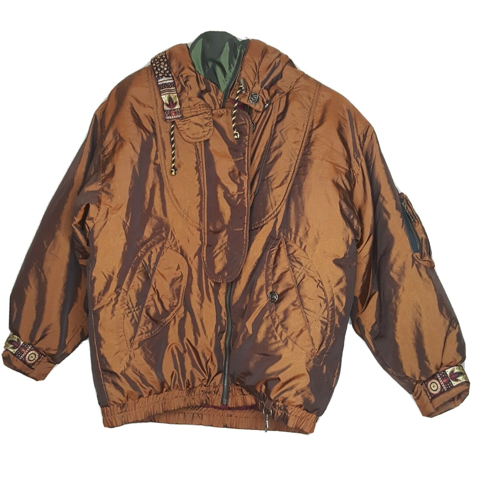 VTG 80s Coat Women Size XL Brown Gold Iridescent Insulated Jacket No Tags