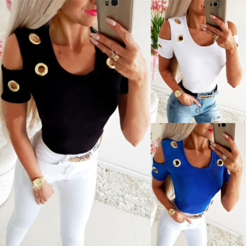 Womens Casual T Shirt Tee Ladies Blouse Holiday Eyelets Cold Shoulder Basic Tops
