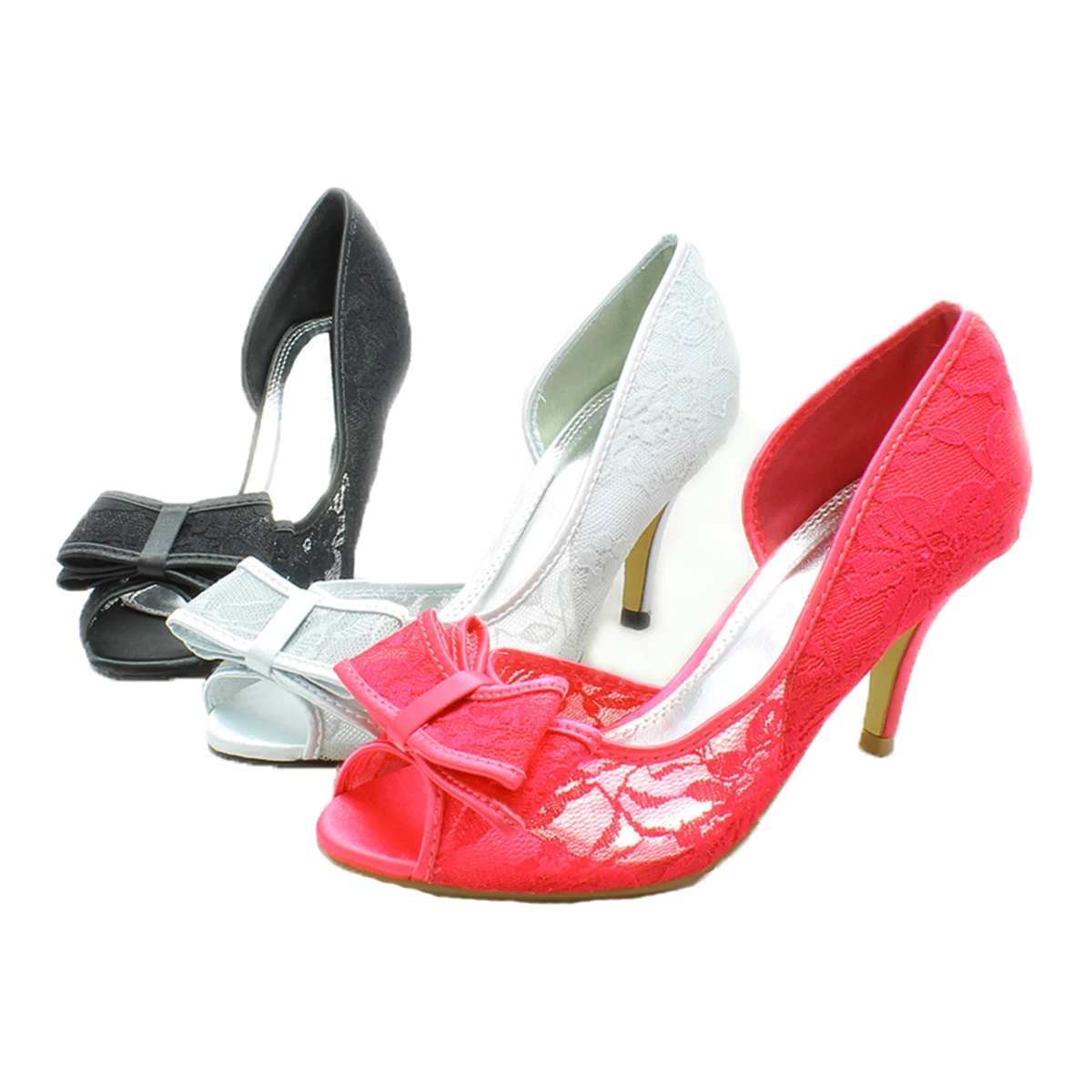Lace Medium Heel Wedding Shoes with Bow Front