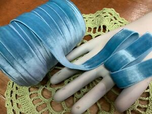 STRETCH-1-034-VELVET-ELASTIC-RIBBON-1-yd-Hairband-Aqua-BlueStraps-Swiss