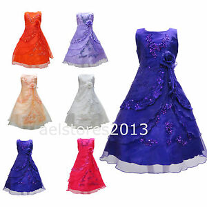 New-Girls-Formal-Wedding-Bridesmaid-Party-Flower-Dress-Size-Age-2-12-A016