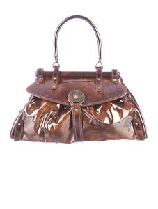 a01553f39f Image is loading Fendi-Brown-and-Sienna-Patent-Leather-Medium-Magic-
