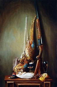 "Dream-art Oil painting still life Death Golden pheasant birds shotgun fruits 36"""