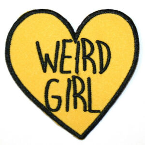 Weird-Girl-Iron-On-Patch-Embroidered-Sew-On-Yellow-Heart-Feminist-Goth