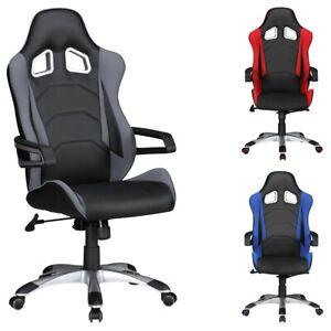 Detalles de FineBuy silla de oficina imitación piel Silla jefe silla  giratoria Racing Race