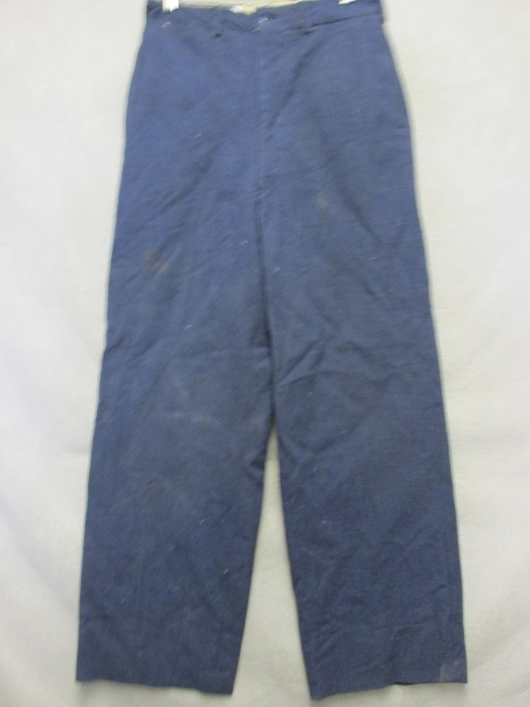 A6765 Military Circa Dark bluee 1950's Wool Stained Pants Men 28x29